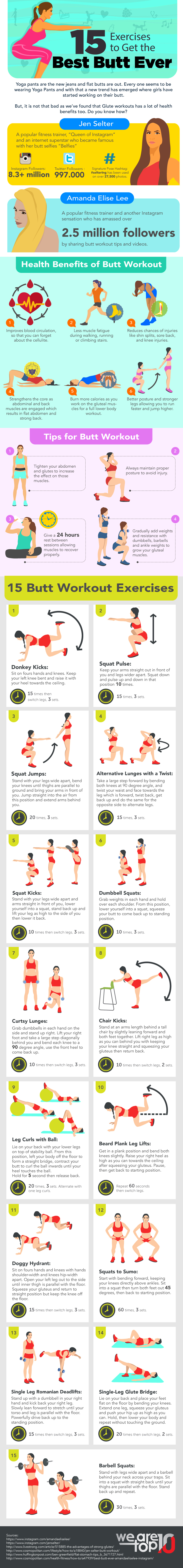 15 Exercises to Get the Best Butt Ever infographic