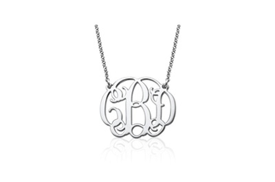 Sterling Silver Fancy Monogram Necklace - Custom Made with Any Initial