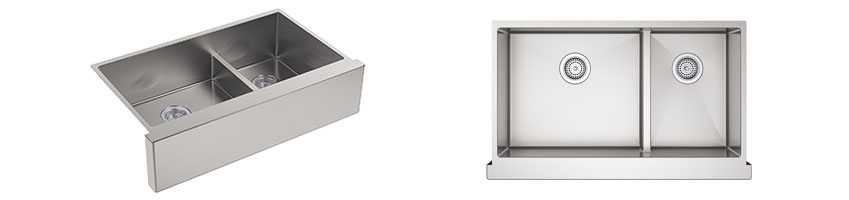 KOHLER K-5416-Strive Self-Trimming Smart Divide Undermount Large Medium Double-Bowl Kitchen Sink with Tall Apron