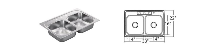 Moen 2200 Series Double Bowl Sink