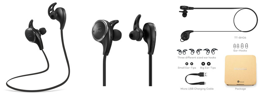 TaoTronics Bluetooth Wireless Earphones for Running with Mic