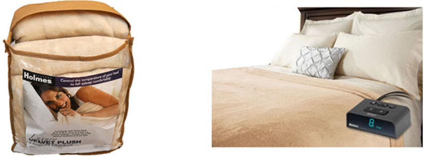 Holmes Sunbeam Queen Size Heated Blanket Luxurious Velvet Plush