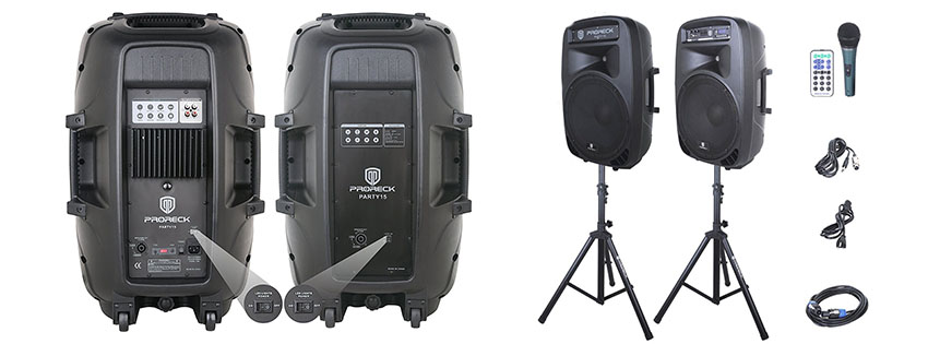 PRORECK PARTY Portable Inch Watt Way Powered PA Speaker System