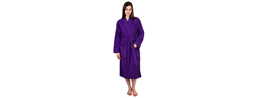 Towel Selections Turkish Cotton Terry Kimono Bathrobe Lilac