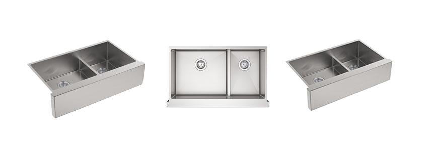 Kohler K NA Strive Self Trimming SmartDivide Undermount LargeMedium Double Bowl Kitchen Sink with Tall Apron