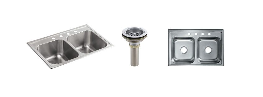 KOHLER K NA Toccata Top Mount Double Equal Bowl Kitchen Sink with Faucet Holes