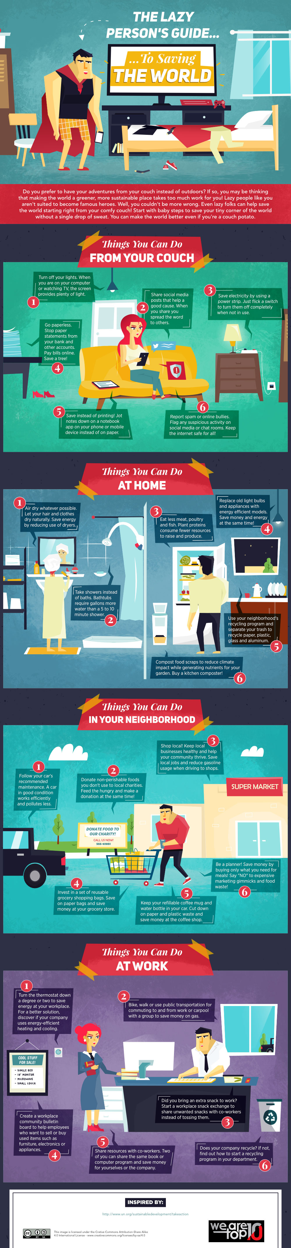 Lazy Persons Guide to Saving the World Infographic on Social Responsibility