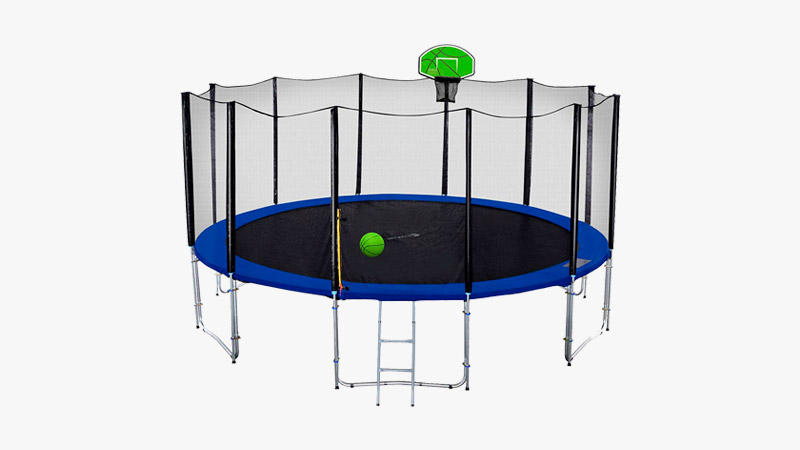 Exacme 8-Foot Round Trampoline with Green Basketball Hoop and Enclosure Net